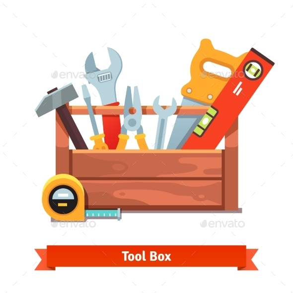 Wooden Toolbox Full of Equipment - Man-made Objects Objects