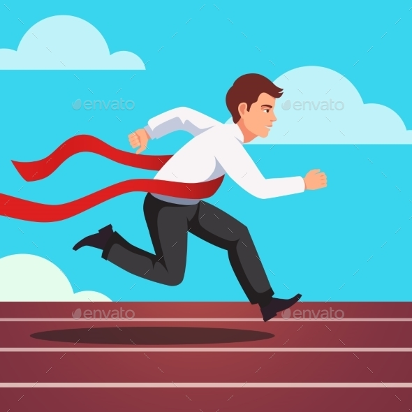 Running Businessman Winning a Race - Concepts Business
