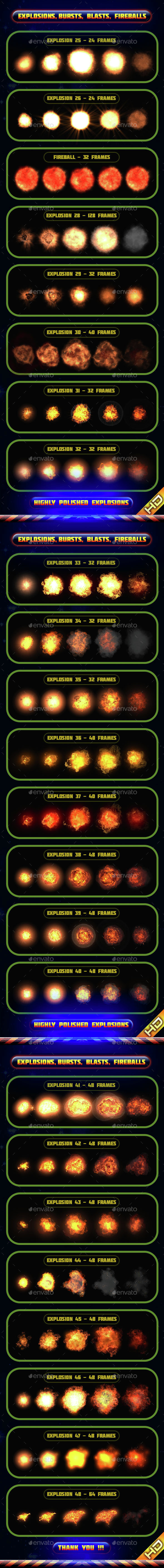 Explosions Blasts Bursts Detonations MEGA PACK 02 - Sprites Game Assets