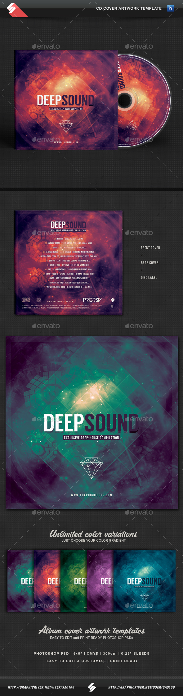 Deep Sound - CD Cover Artwork Template - CD & DVD Artwork Print Templates