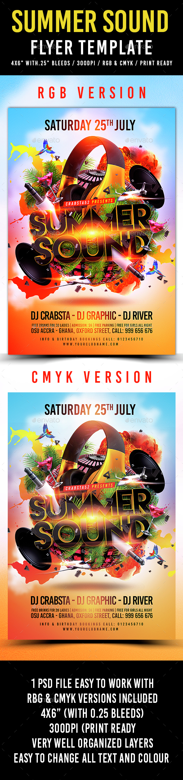 Summer Sound Flyer Template - Clubs & Parties Events