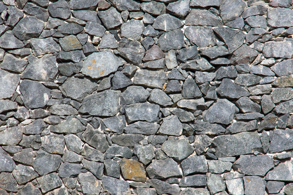 Grey natural stone wall  - Stock Photo - Images