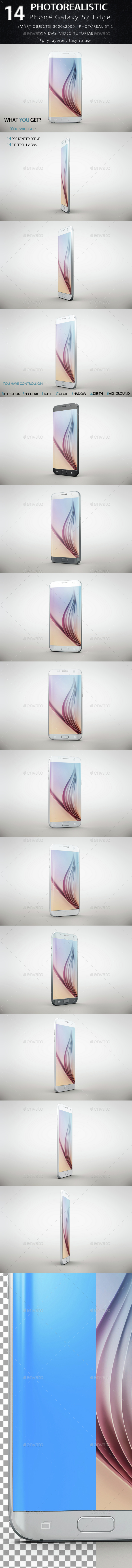 Smartphone Galaxy s7 Edge Mock Up - Product Mock-Ups Graphics