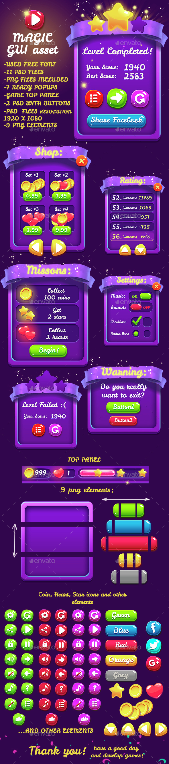 Magical 9 PNG Game Interface Set Part 2 - User Interfaces Game Assets