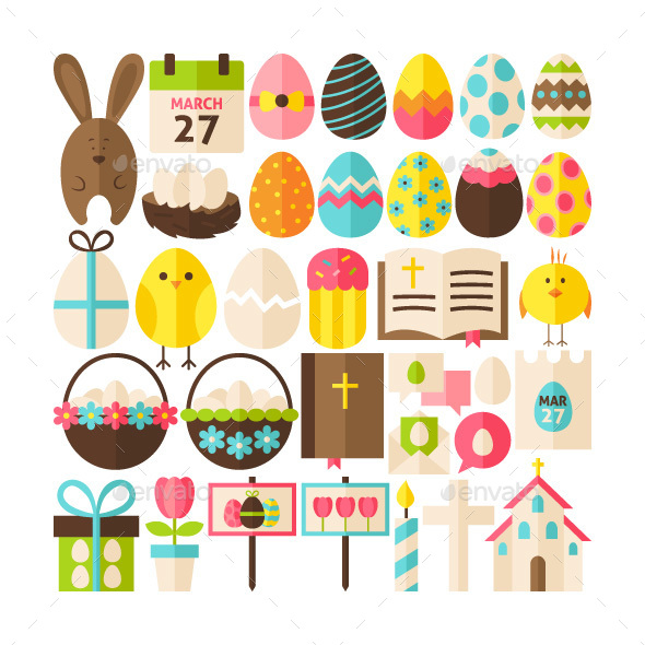 Easter Greeting Flat Isolated Objects - Miscellaneous Seasons/Holidays