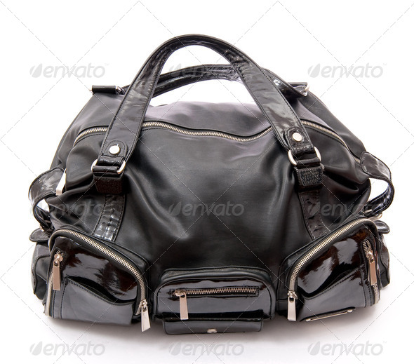 Black leather road bag - Stock Photo - Images