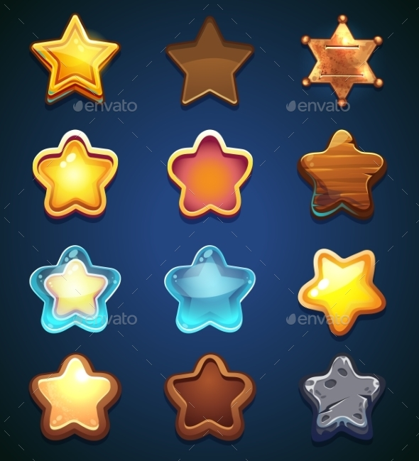 Collection Star Icons in Different Style - Decorative Symbols Decorative