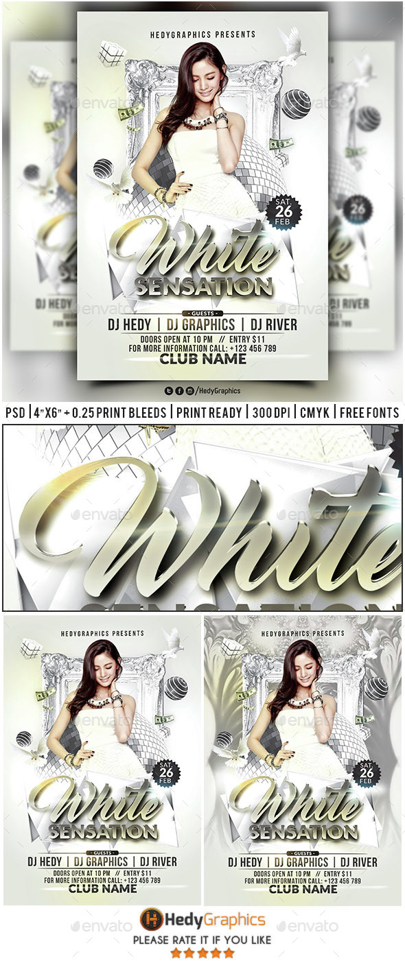 White Sensation - Flyer Template - Clubs & Parties Events