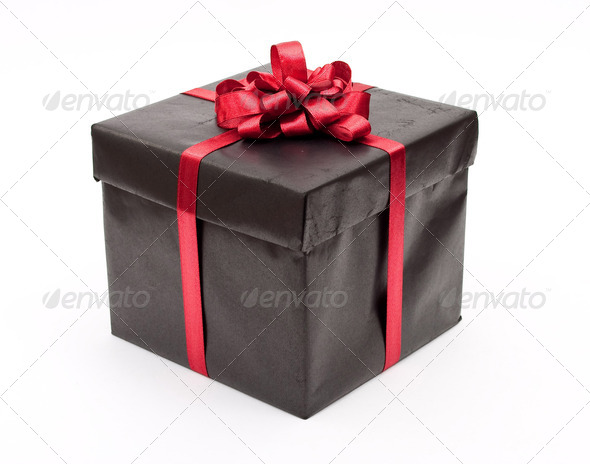 Black gift box - Stock Photo - Images