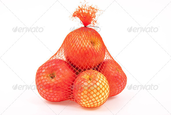 Apples in a sack - Stock Photo - Images