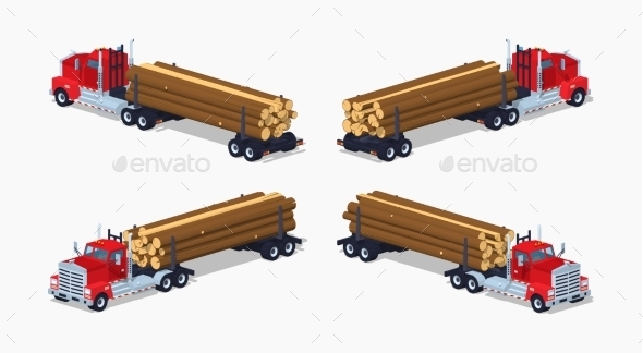 Log Truck with Pile of Logs - Man-made Objects Objects