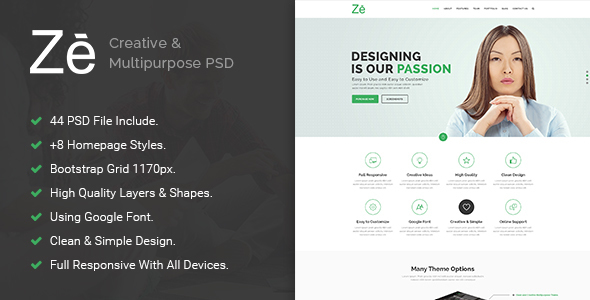 Ze - Creative & Multipurpose PSD Template. - Creative PSD Templates