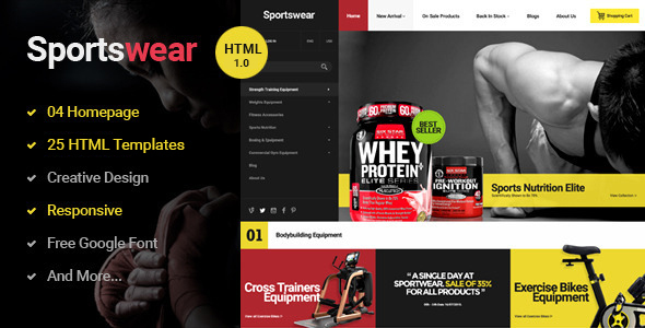 Sportwear - Multi Store Responsive HTML Template - Retail Site Templates