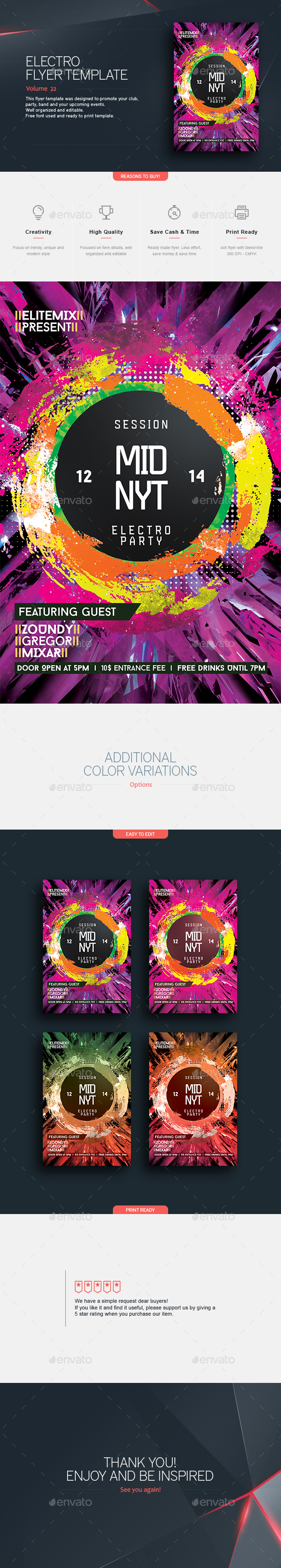 Midnight Electro - Flyer Template - Clubs & Parties Events