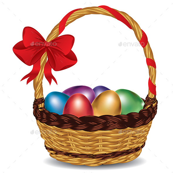 Basket with Colorful Eggs - Miscellaneous Seasons/Holidays