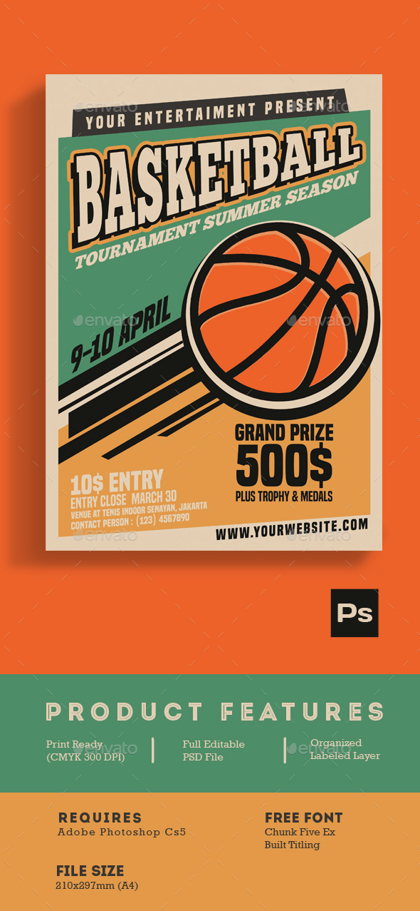 Basketball Tournament Vintage Style - Flyers Print Templates