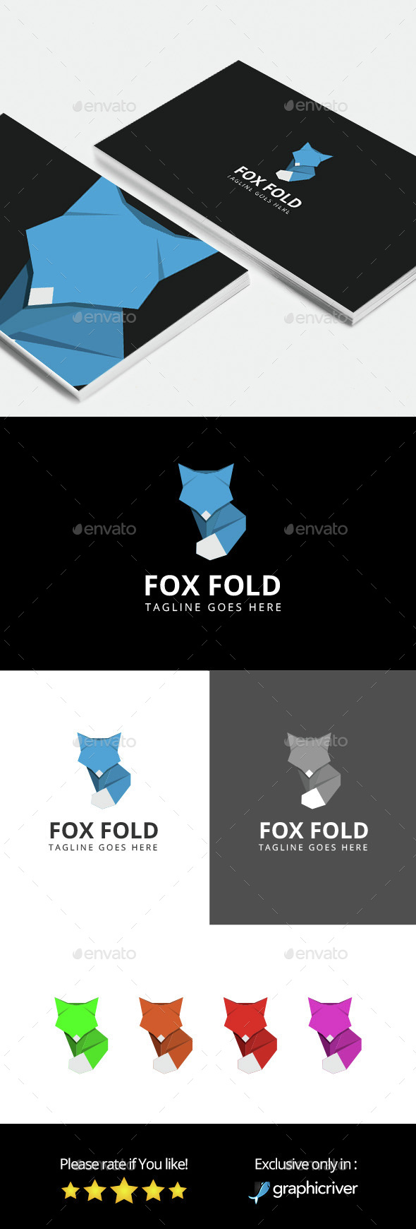 Fox Fold - Logo Template - Animals Logo Templates