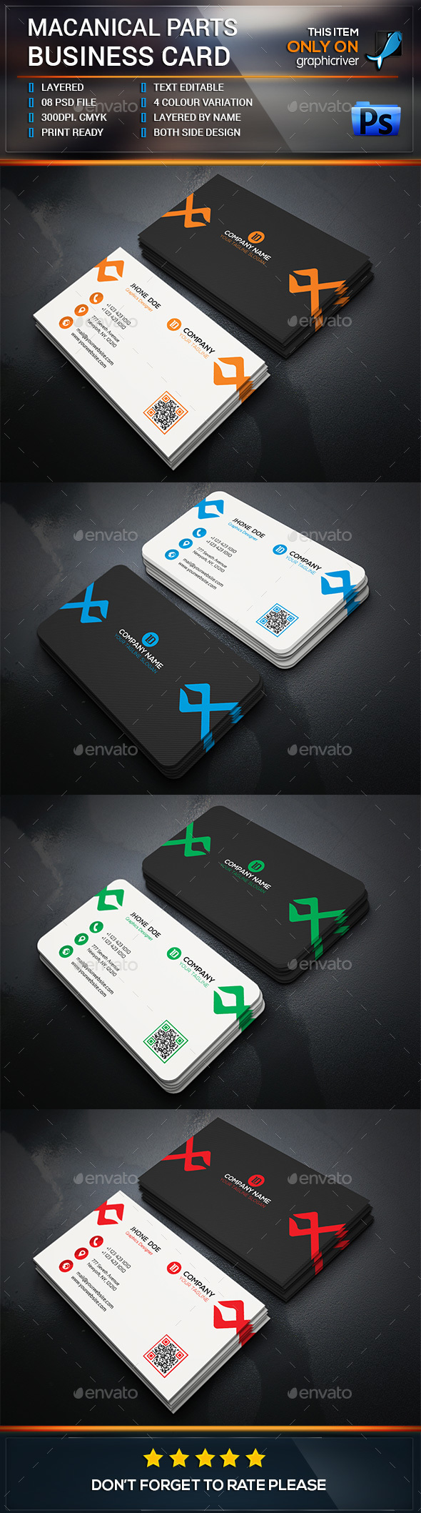 Mechanical Parts Business Card - Business Cards Print Templates