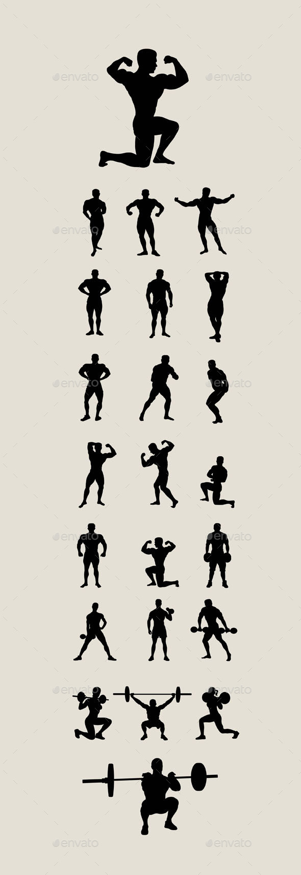 Body Building and Lifting Weights Silhouettes - Sports/Activity Conceptual