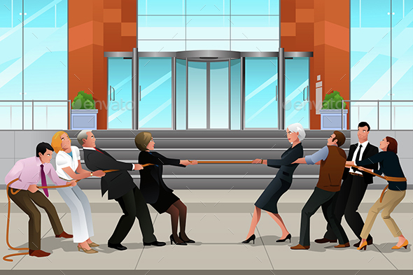 Business People in a Tug of War - Concepts Business