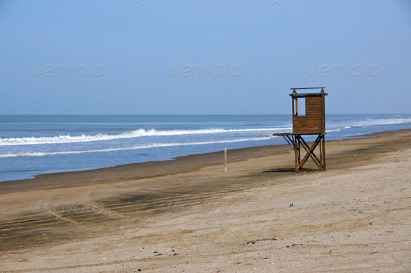 Beach at the argentinean atlantic coast - Stock Photo - Images