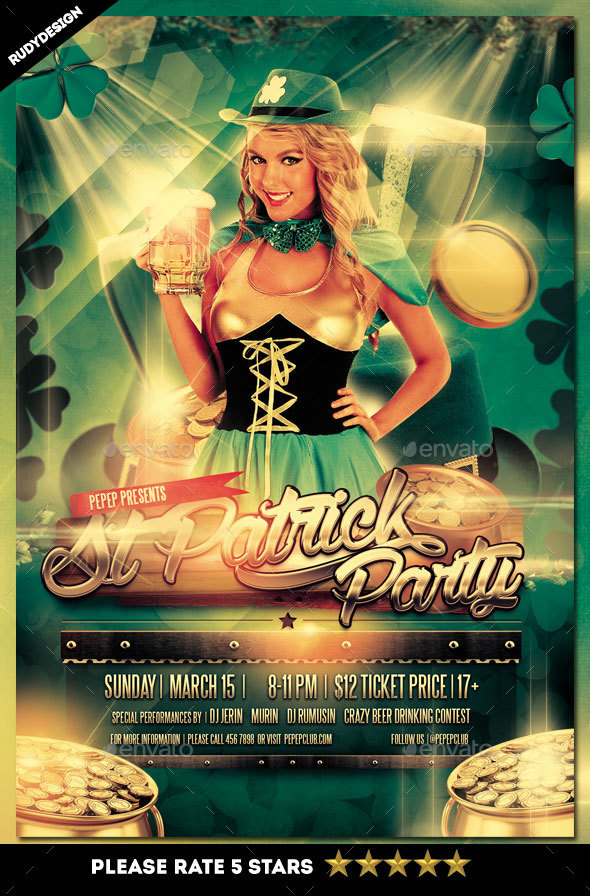 Saint Patrick Day Party Flyer - Holidays Events