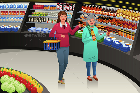 Girl and Grandmother Going Grocery Shopping - Retail Commercial / Shopping
