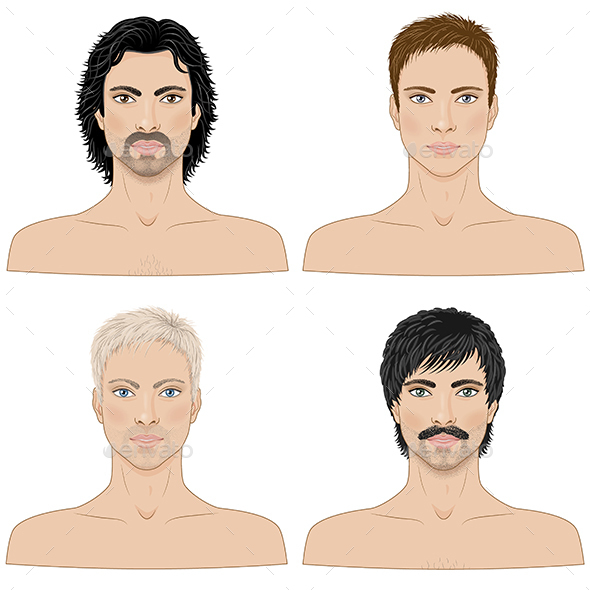 Men  with Different Hairstyles - People Characters