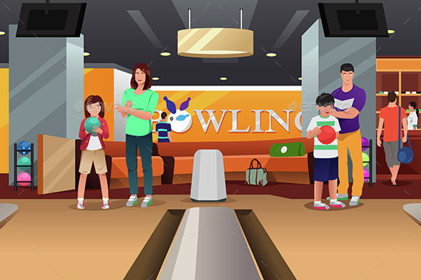 Family Playing Bowling - Sports/Activity Conceptual