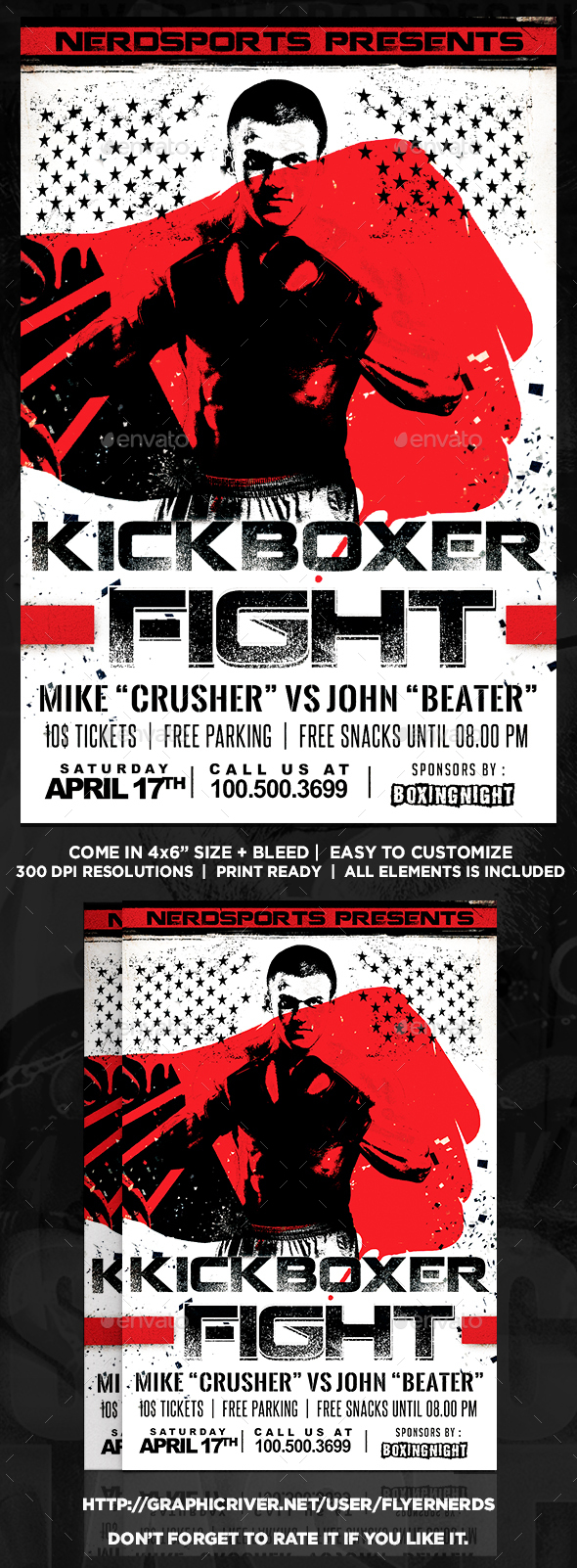 Kickboxer Fight Sports Flyer  - Sports Events