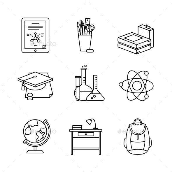 Education Learning Thin Line Art Icons Set - Objects Icons