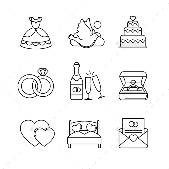 Wedding and Marriage Thin Line Art Icons Set - Weddings Seasons/Holidays