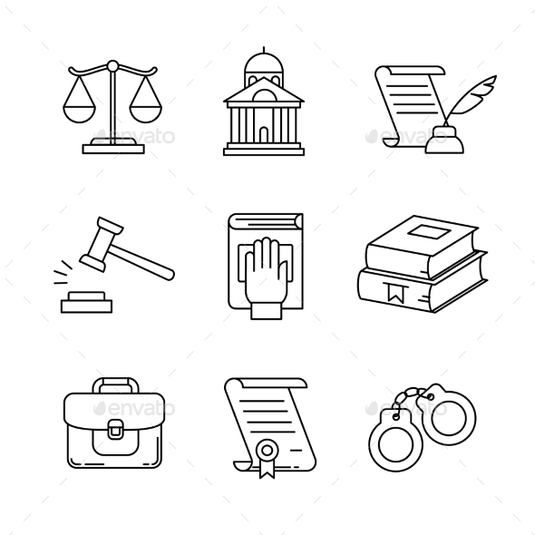 Legal, Law and Court Thin Line Art Icons Set - Miscellaneous Vectors