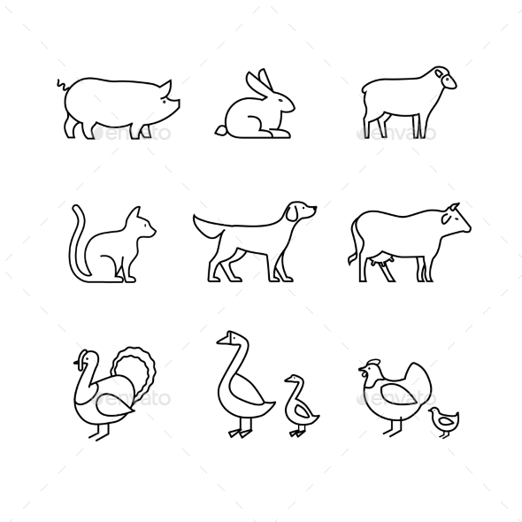 Domestic and Farm Animals Thin Line Art Icons Set - Animals Characters