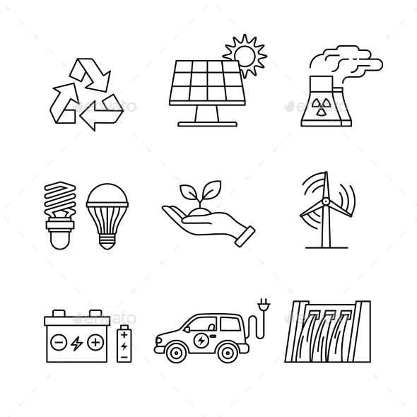 Power Generation and Ecologic Energy - Man-made Objects Objects