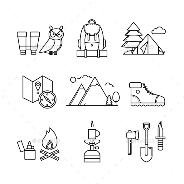 Forest and Mountains Hiking Set - Miscellaneous Vectors