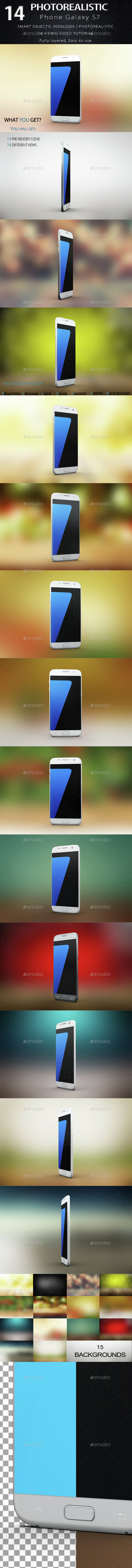 Smartphone Galaxy s7 Mock Up - Product Mock-Ups Graphics