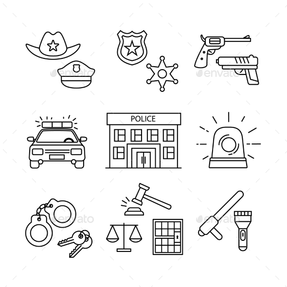 Police Building, Car, Court and Law Enforcement - Miscellaneous Vectors
