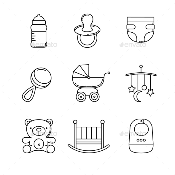 Baby Icons Thin Line Art Set - Man-made Objects Objects