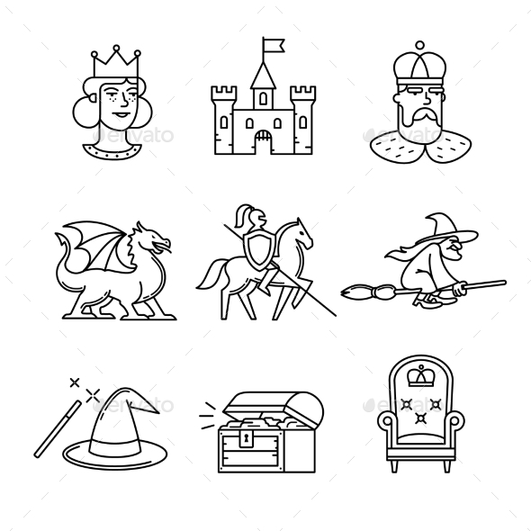 Fairy Tail Icons Thin Line Art Set - Miscellaneous Conceptual