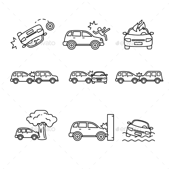 Car Crash and Accidents Thin Line Art Icons Set - Miscellaneous Conceptual