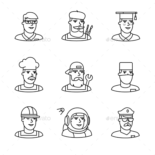People Professions Paces Icons Thin Line Art Set - People Characters