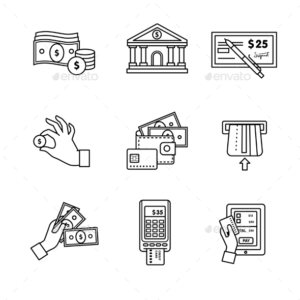 Banking Icons Thin Line Art Set - Industries Business