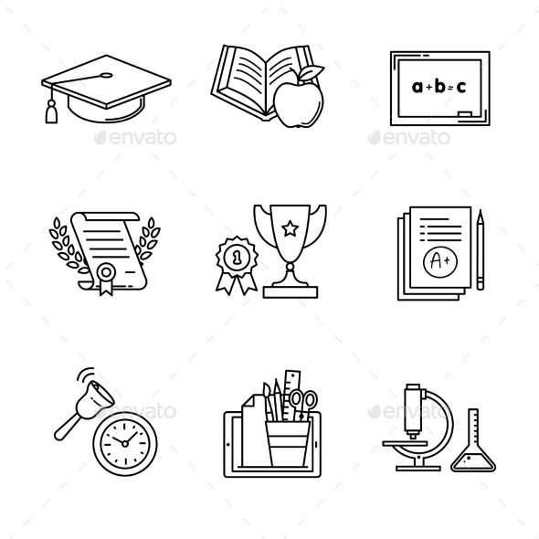 Education Icons Thin Line Art Set - Man-made Objects Objects
