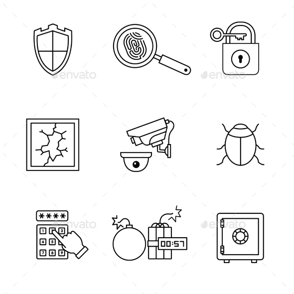 Security and Cybersecurity Icons Thin Line Art Set - Miscellaneous Conceptual