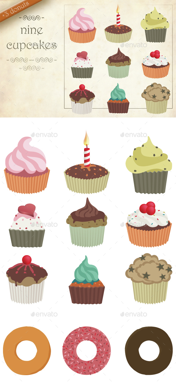 Nine cupcakes - Food & Drink Isolated Objects