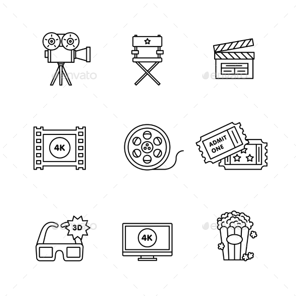 Movie, Film and Video Icons Thin Line Art Set - Media Technology