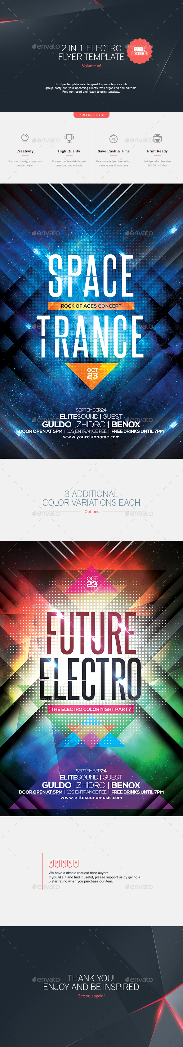 2 in 1 - Electro Flyer  V.6 - Clubs & Parties Events