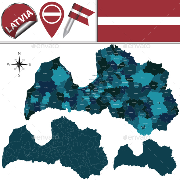 Map of Latvia with Named Divisions - Travel Conceptual