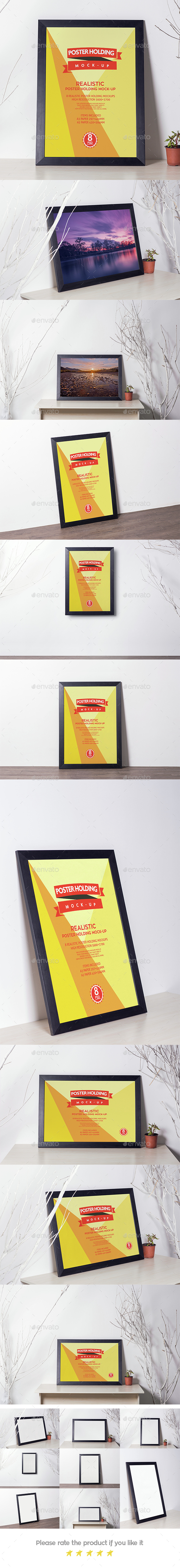 Realistic Poster Holding Mock-up V.2 - Posters Print